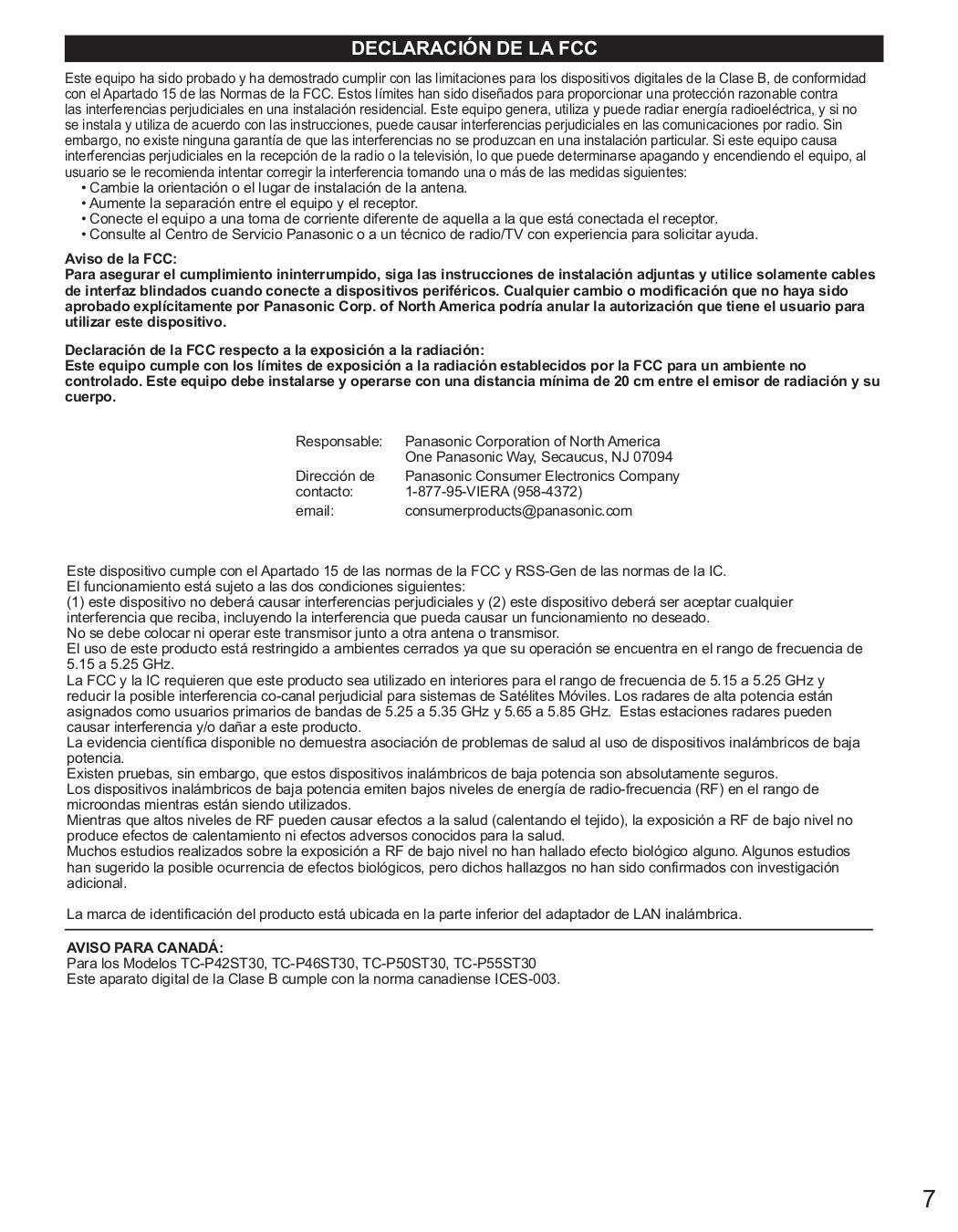 panasonic tcp42st30 manual