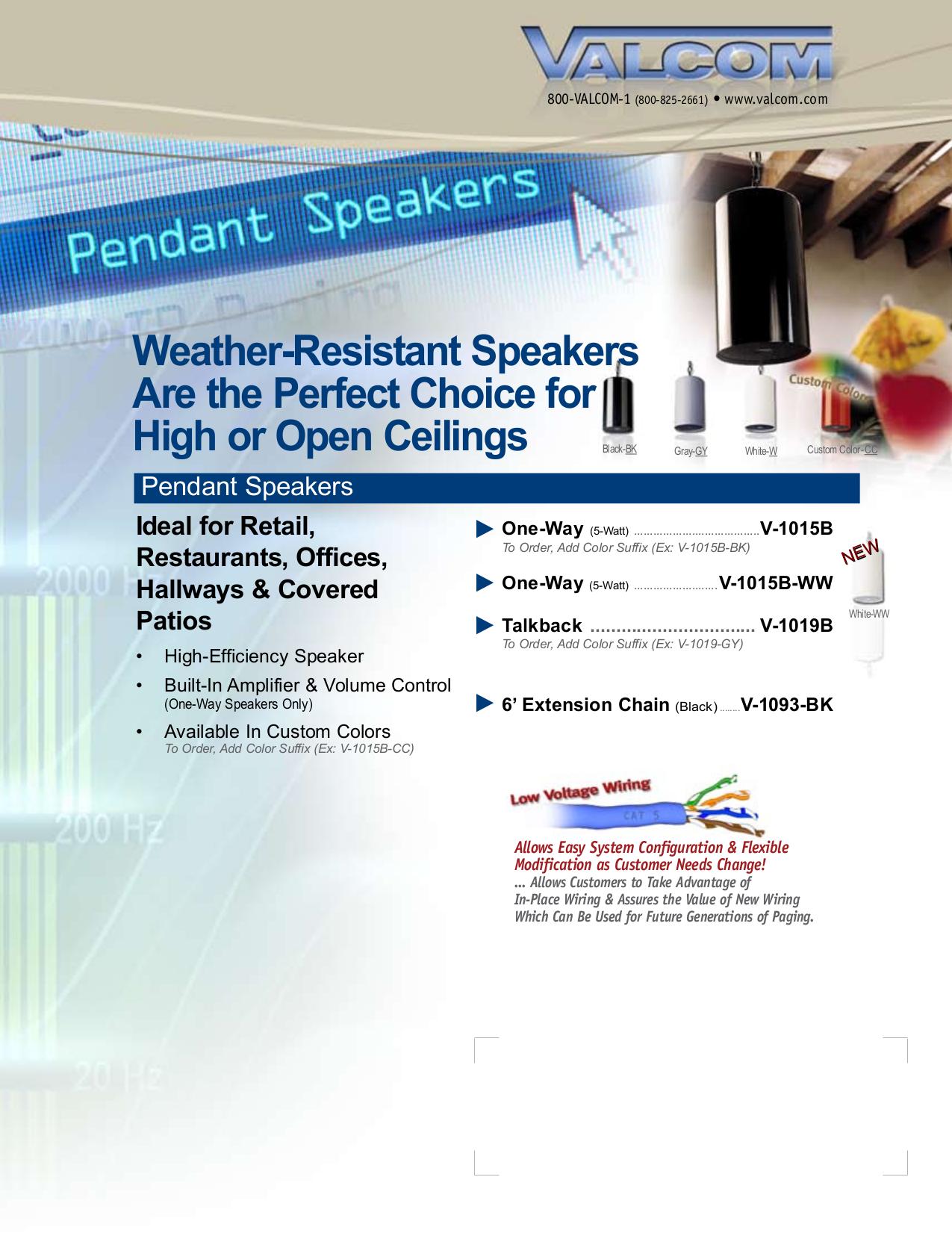 pdf for Valcom Speaker V1015B manual