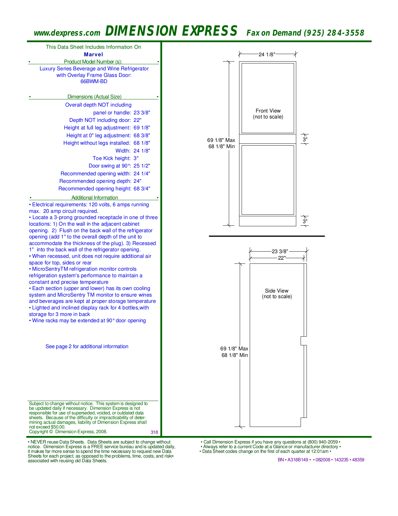 pdf for Marvel Refrigerator 66BWM-BN manual