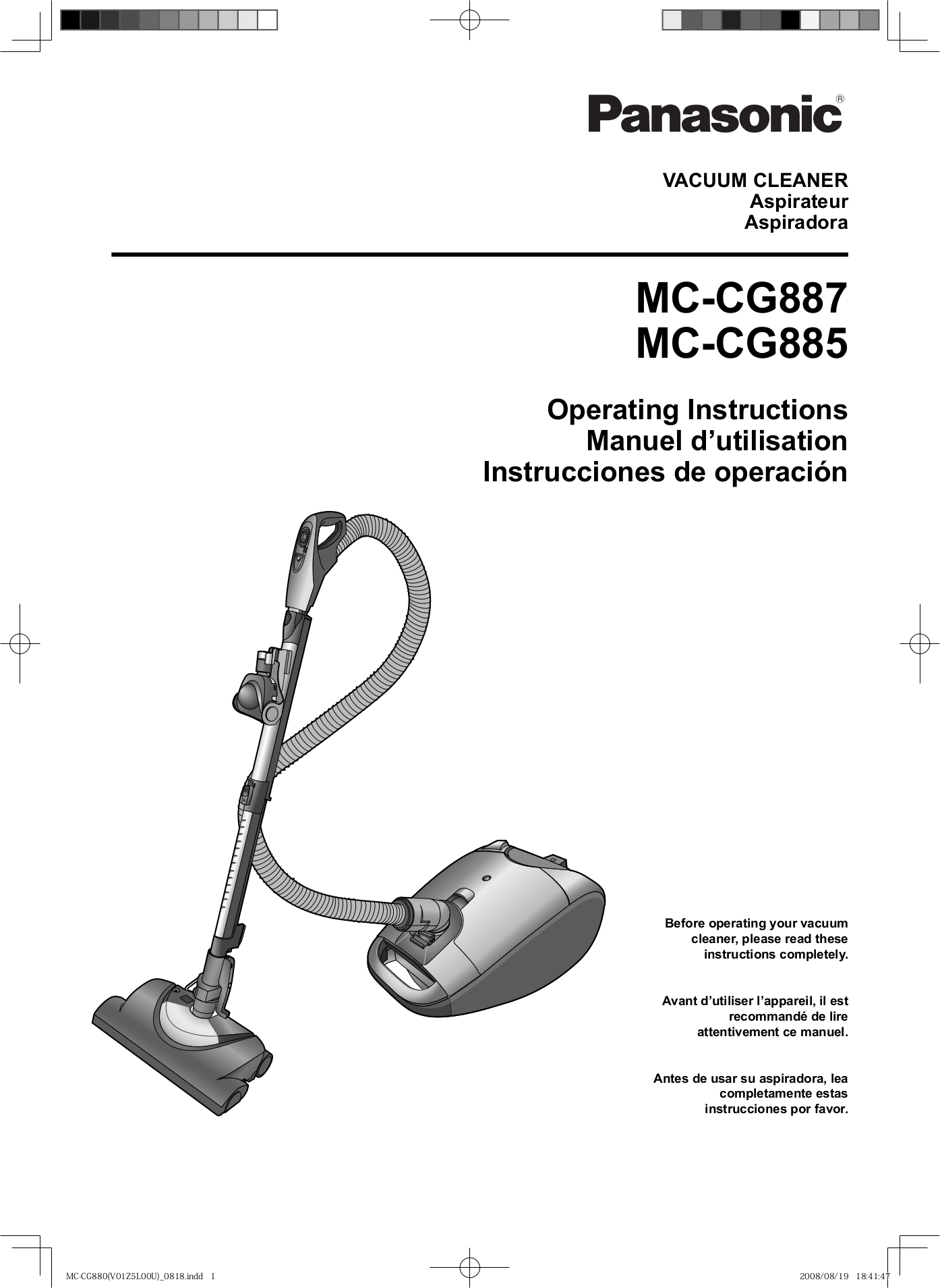 pdf for Panasonic Vacuum MC-CG887 manual