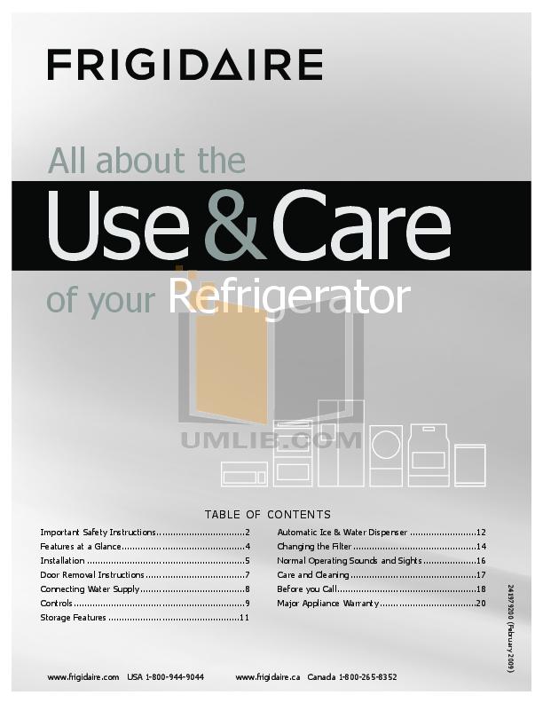 pdf for Frigidaire Refrigerator FRS26ZSHW0 manual