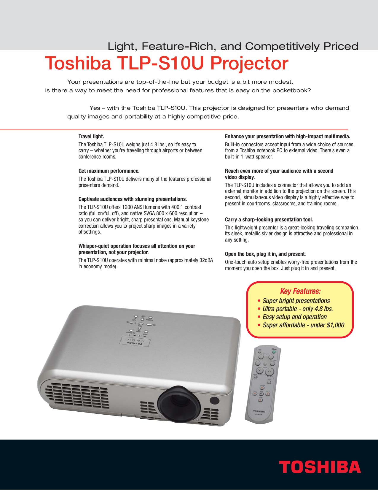 Pdf For Toshiba Projector TLP S10U Manual