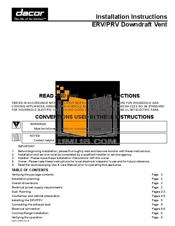 pdf for Dacor Range Preference SGM466 manual