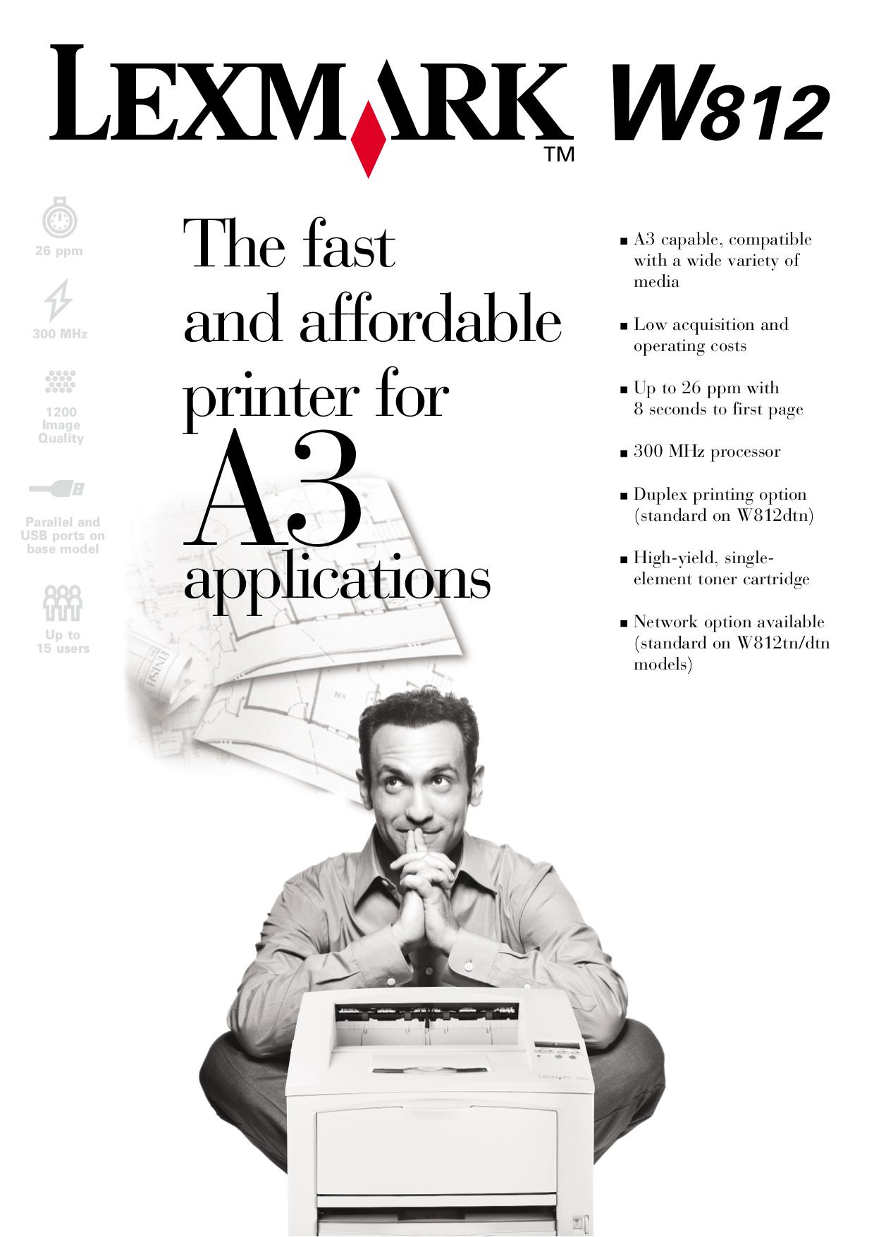 pdf for Lexmark Printer W812tn manual