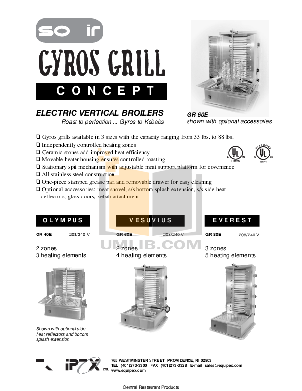 pdf for Equipex Grill GR-60E manual