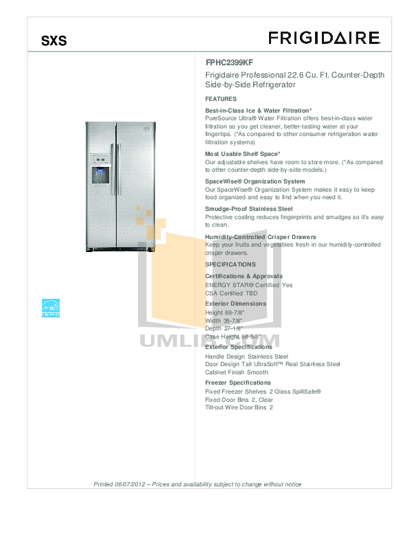 pdf for Frigidaire Refrigerator FFHS2311L manual
