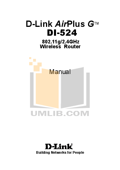 Pdf manual for d-link wireless router di-524.