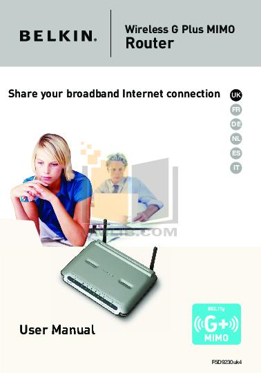 pdf for Belkin Router F5D9230uk4 manual