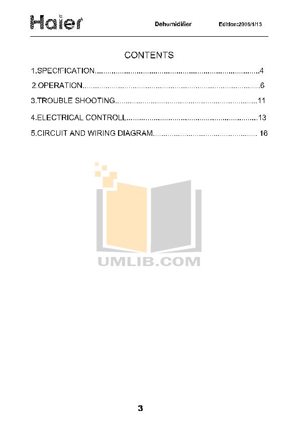 PDF manual for Haier Dehumidifier HD306 on