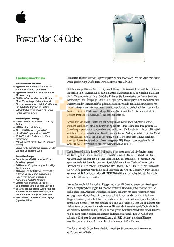 pdf for Apple Desktop Power Mac G4 Cube M8328 manual