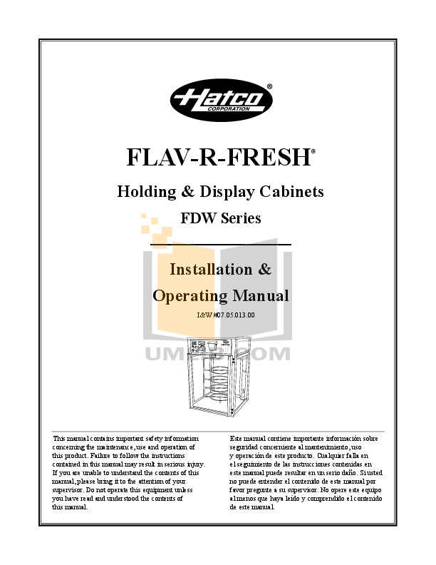 pdf for Hatco Other FST-2X manual