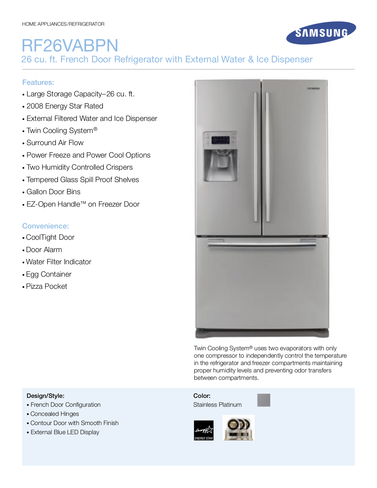 pdf for Samsung Refrigerator RF26VABPN manual