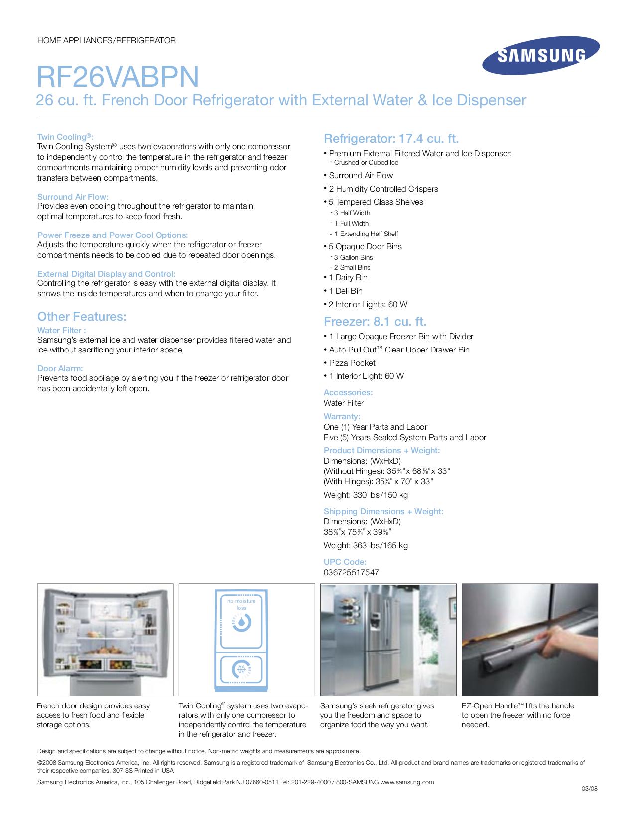 Samsung Refrigerator RF26VABPN pdf page preview