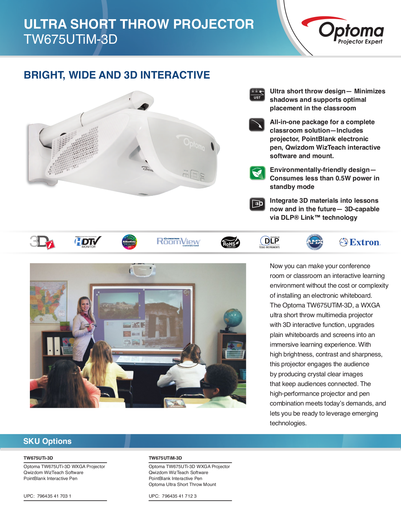 pdf for Optoma Projector TW675UTi-3D manual
