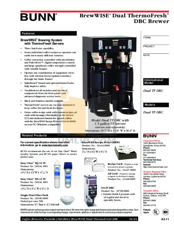 Download free pdf for bunn dual tf brewwise dbc coffee maker manual.