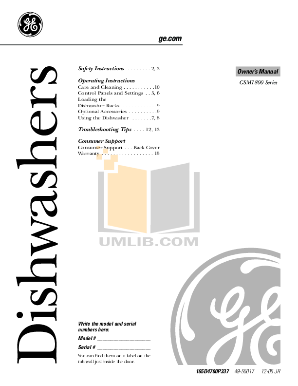 pdf for GE Dishwasher PDWT580VSS manual