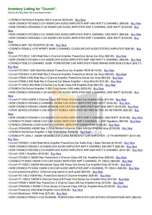 pdf for Crunch Car Amplifier PowerZone PZA1500.1 manual