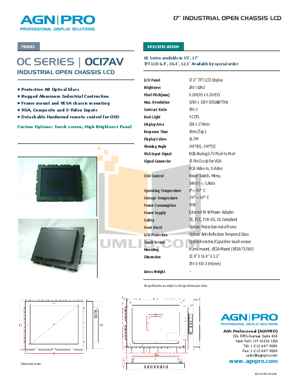 pdf for Agnpro Monitor OC-17AV manual
