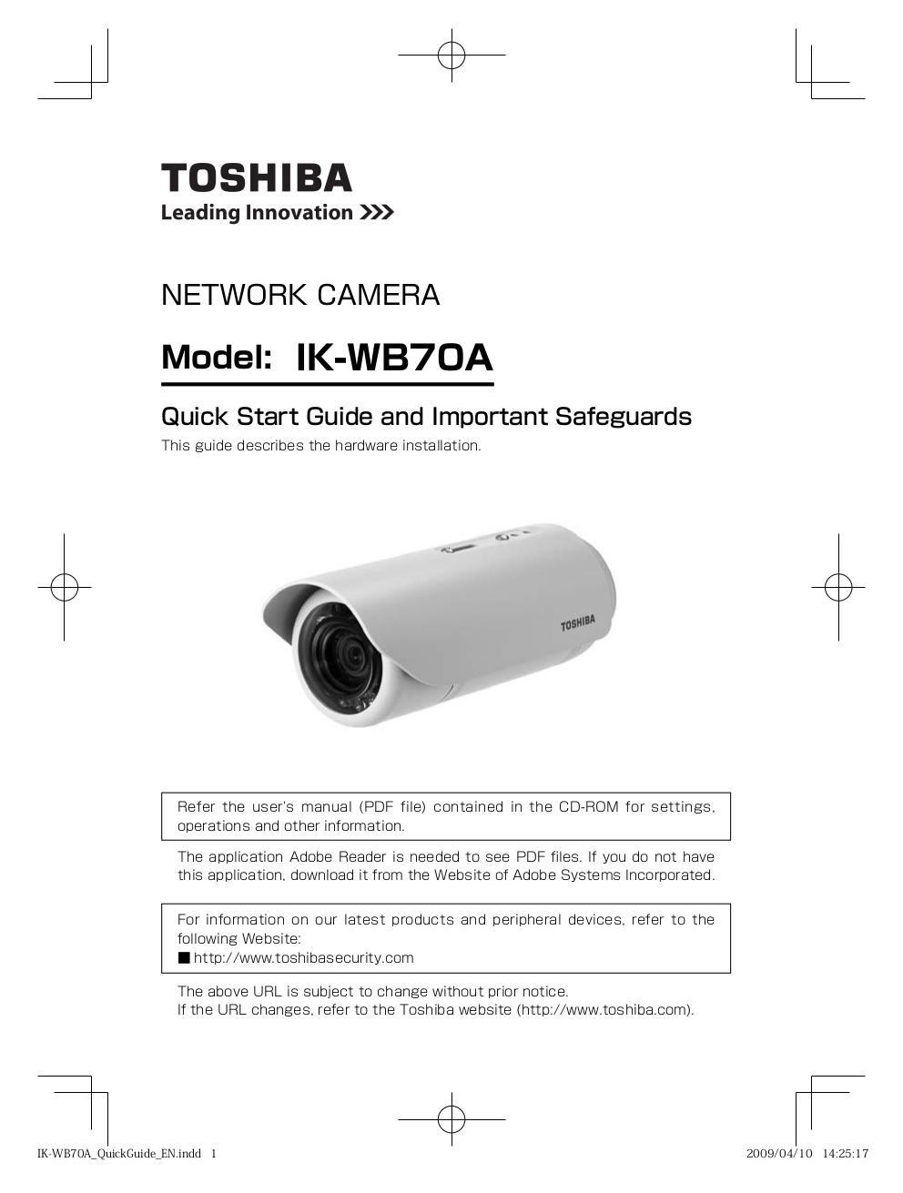 download free pdf for toshiba ik wb70a security camera manual rh umlib com Toshiba CCTV Camera Toshiba CCD Color Camera