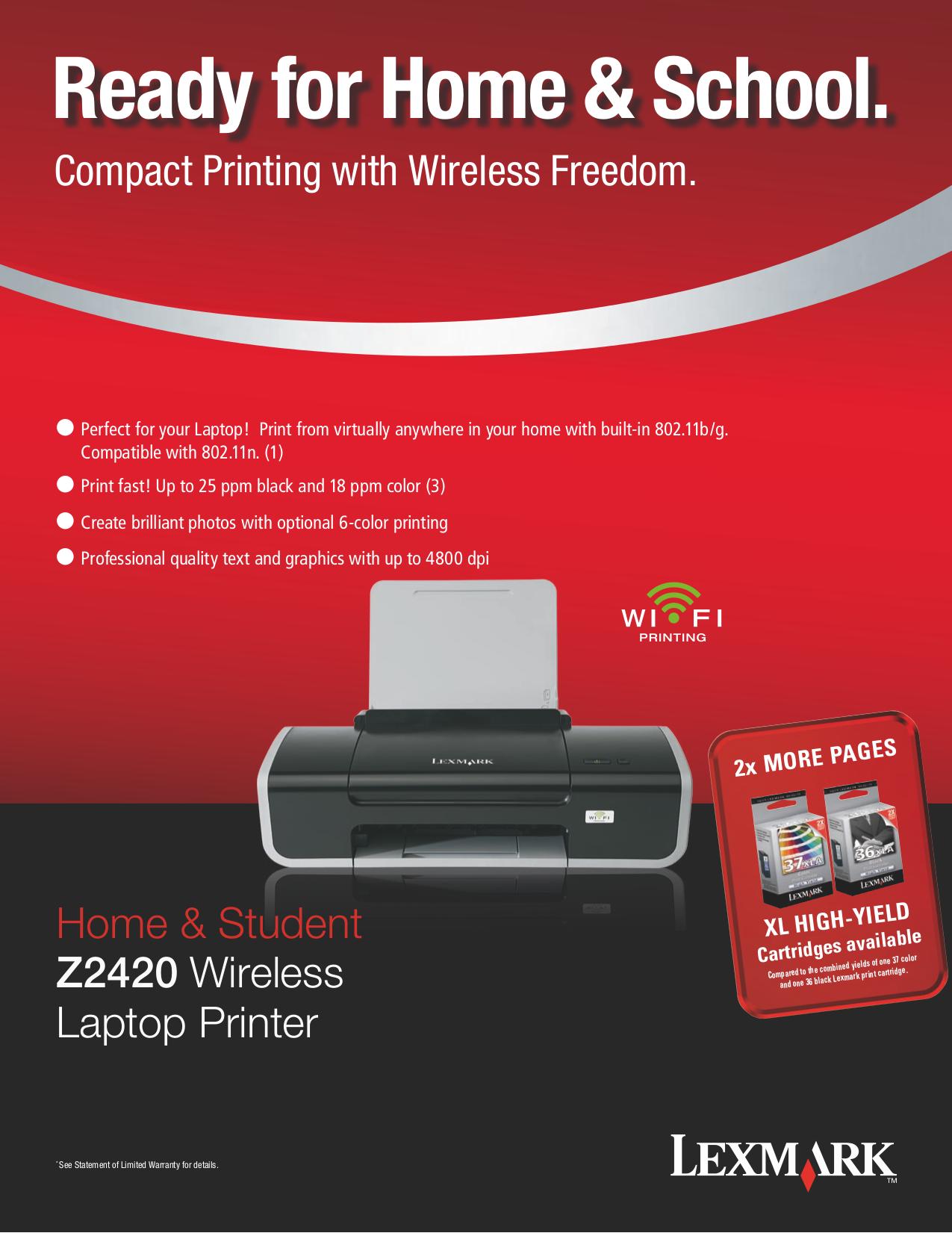 pdf for Lexmark Printer Z2420 manual