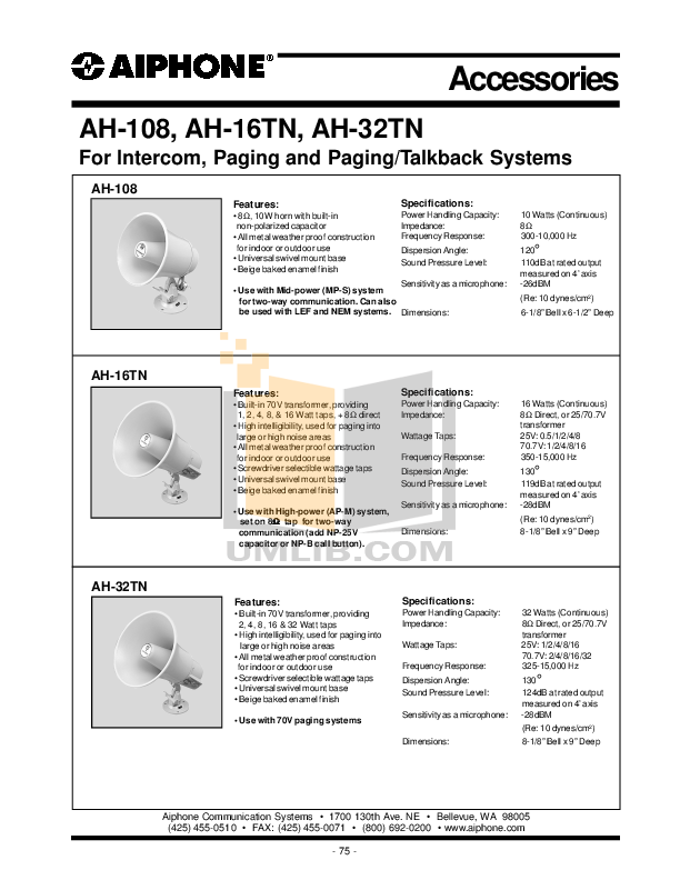 pdf for Aiphone Other AH-16TN Intercoms-Accessory manual