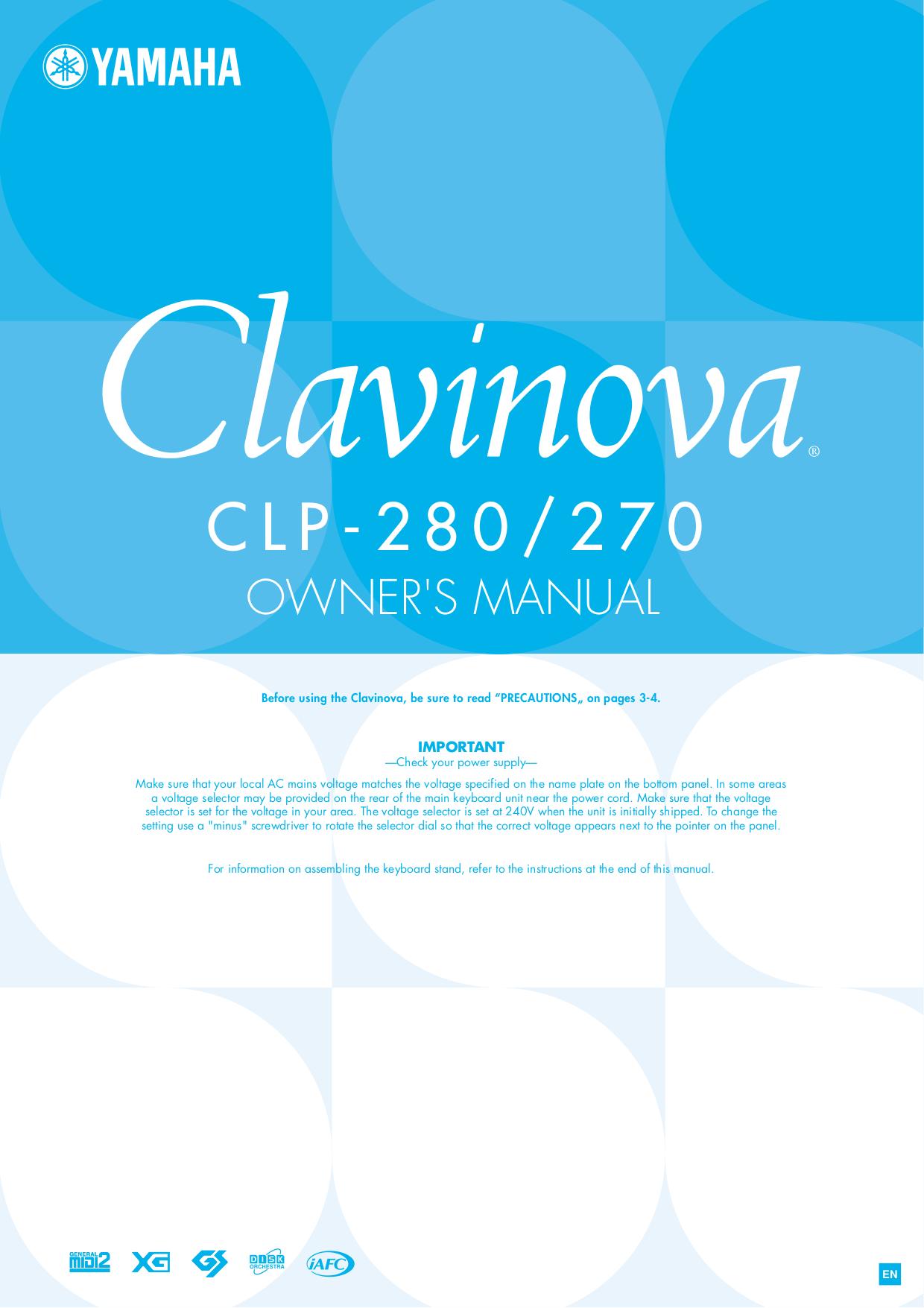 pdf for Yamaha Music Keyboard CLP-20 manual