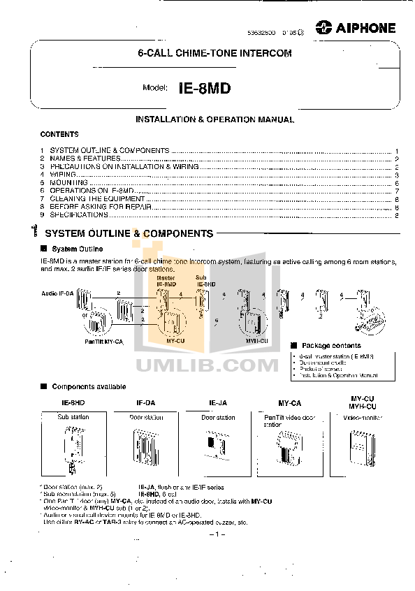 pdf for Aiphone Other MY-CU Intercoms manual