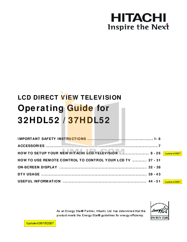 pdf for Hitachi TV 32HDL52 manual