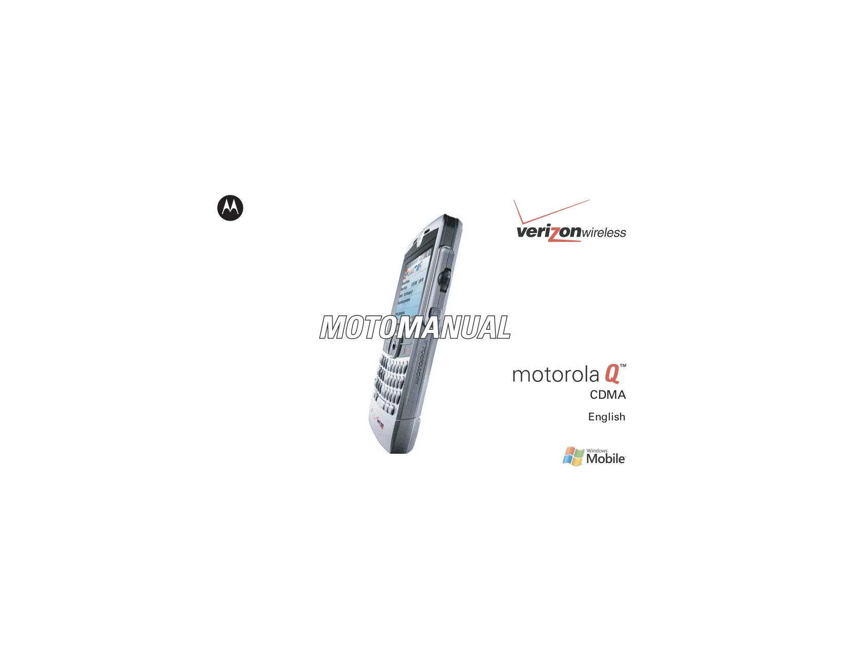 pdf for Motorola Cell Phone MOTO Q manual