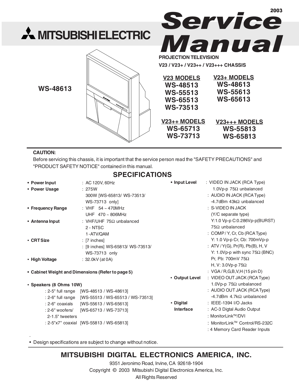 pdf for Mitsubishi TV WS-65713 manual
