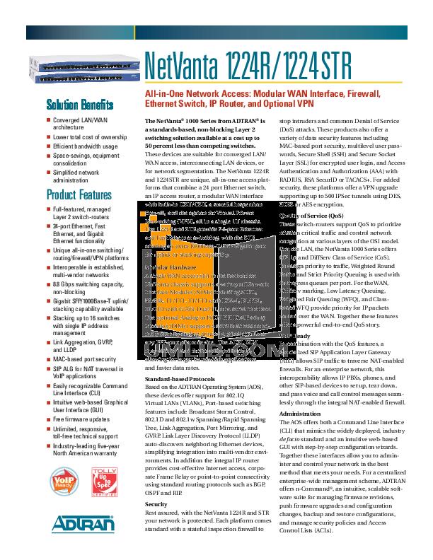 pdf for ADTRAN Switch NetVanta 1224R PoE manual