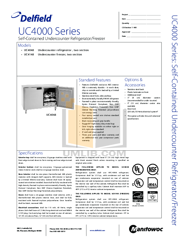 pdf for Delfield Refrigerator UC4048 manual