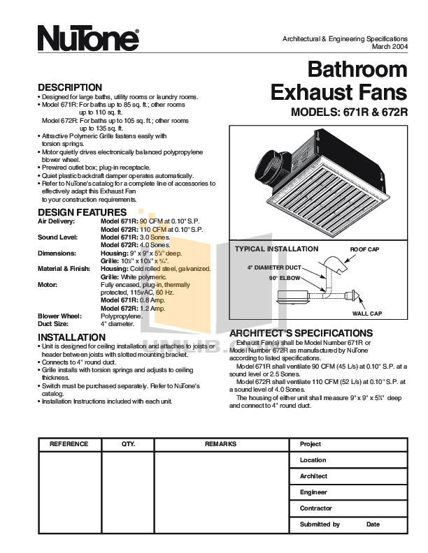 pdf for Broan-NuTone Other 671R Exhaust Fans manual