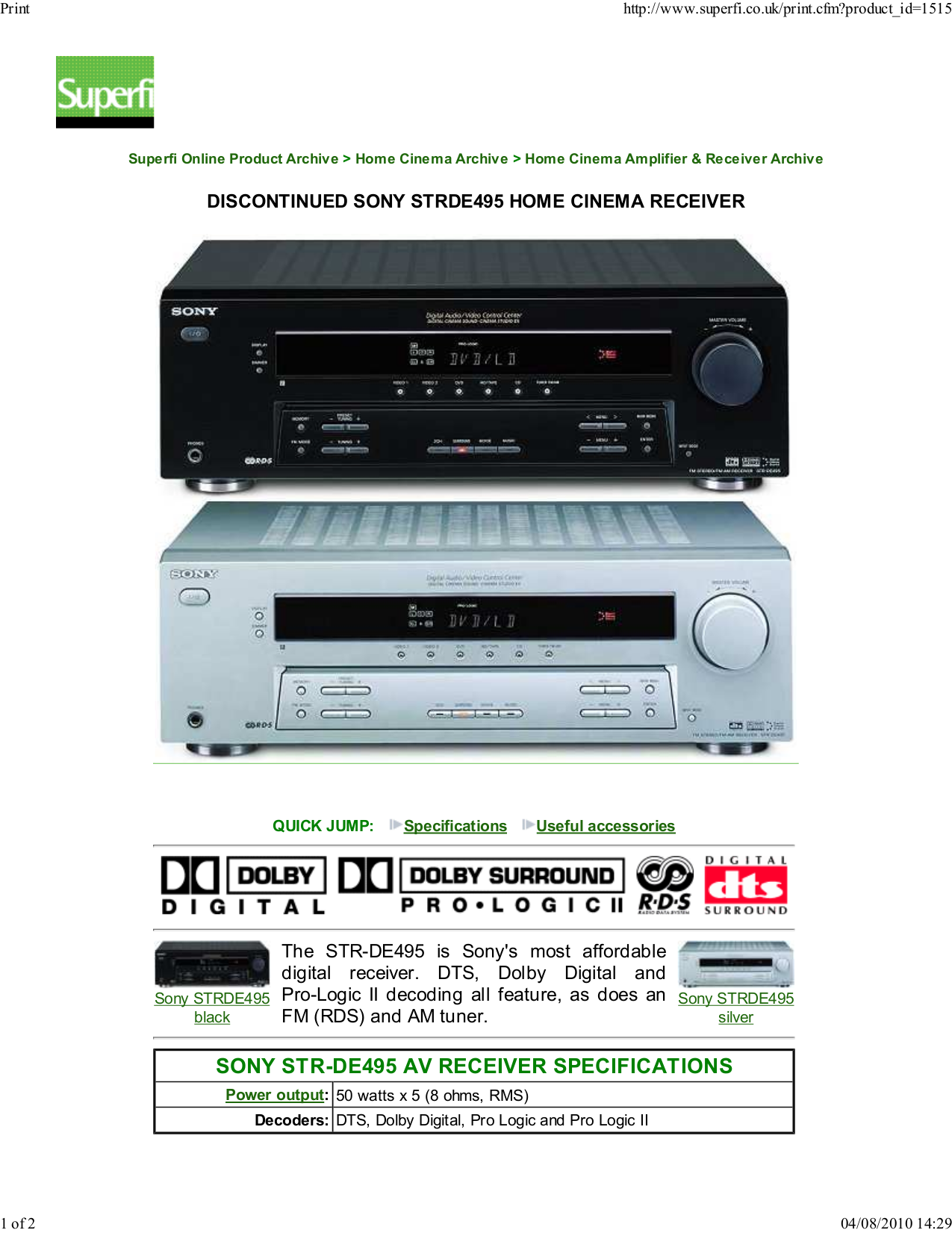 download free pdf for sony str de495 receiver manual rh umlib com sony str-dh130 stereo receiver manual Sony Shelf Stereo Systems