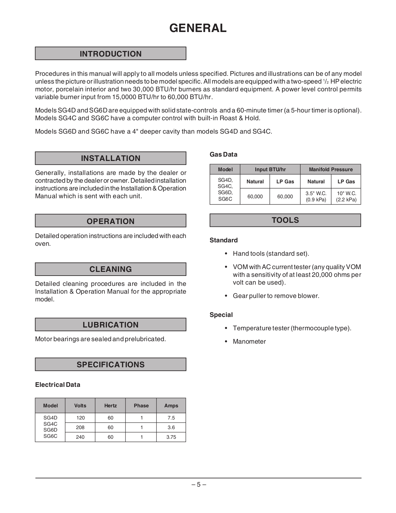 Vulcan Oven SG6D pdf page preview