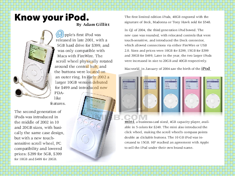 PDF manual for Apple MP3 Player iPod iPod Shuffle First Gen