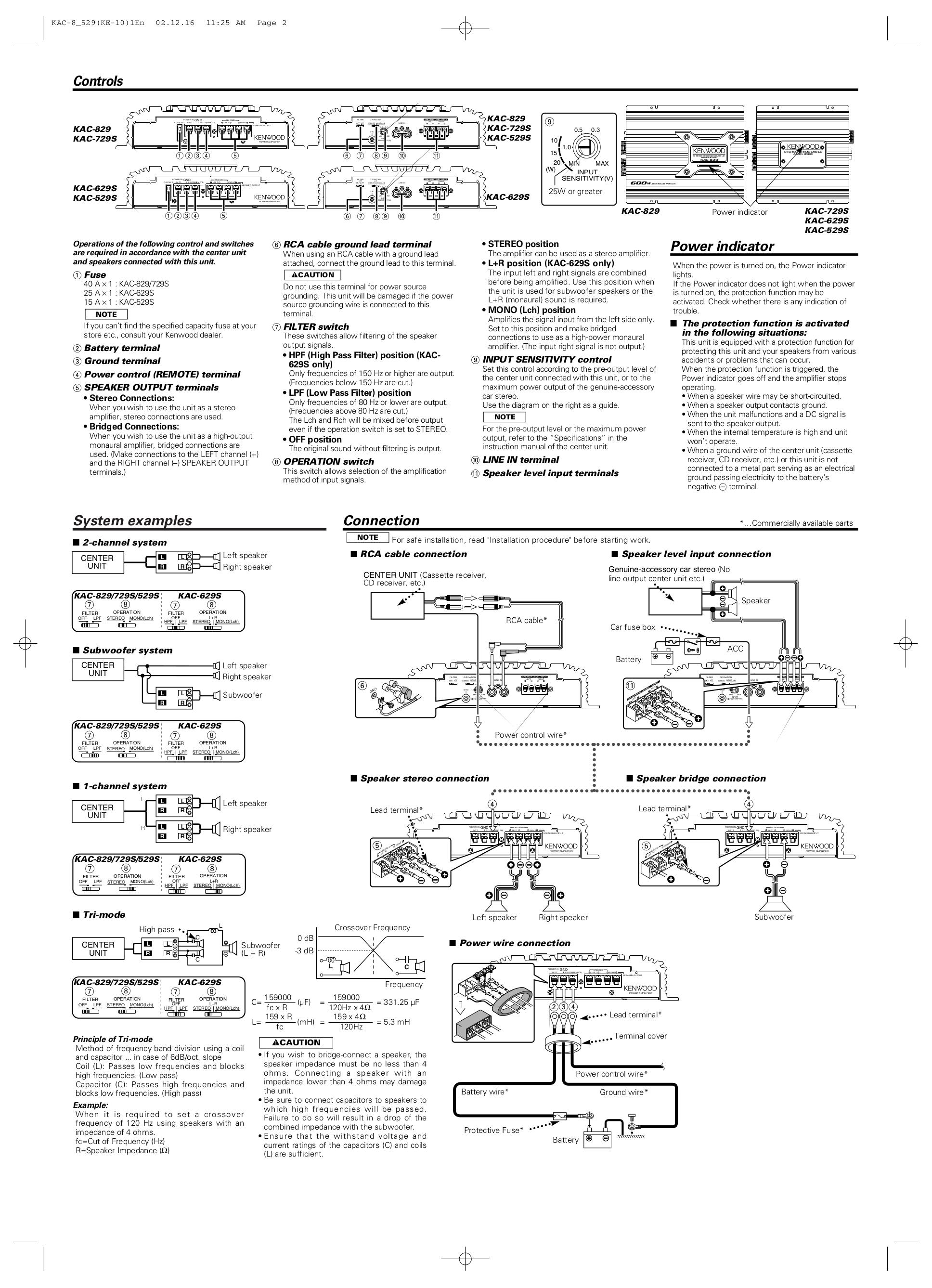 PDF manual for Kenwood Car Amplifier KAC-629S on
