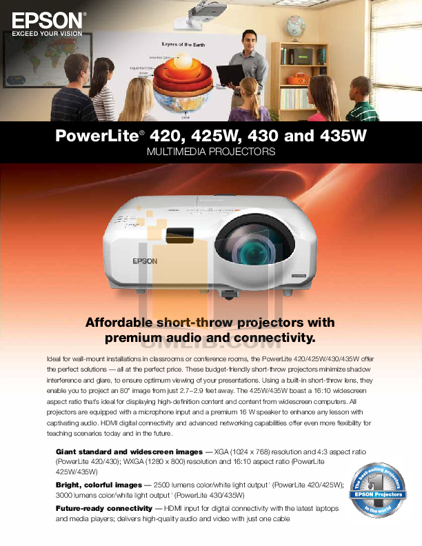 pdf for Epson Projector PowerLite 425W manual