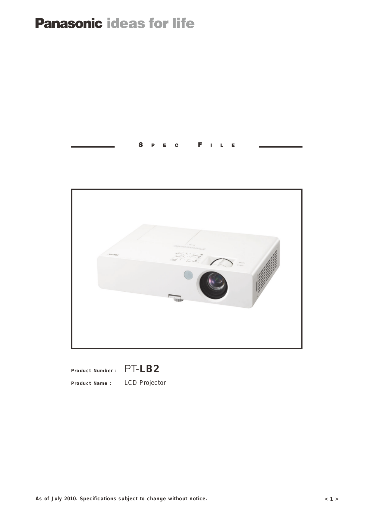 pdf for Panasonic Projector PT-LB2U manual