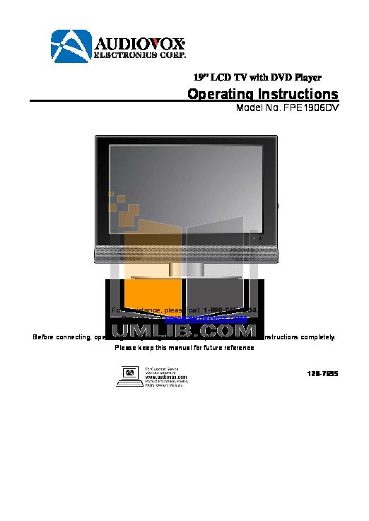 pdf for Audiovox TV FPE1906DV manual