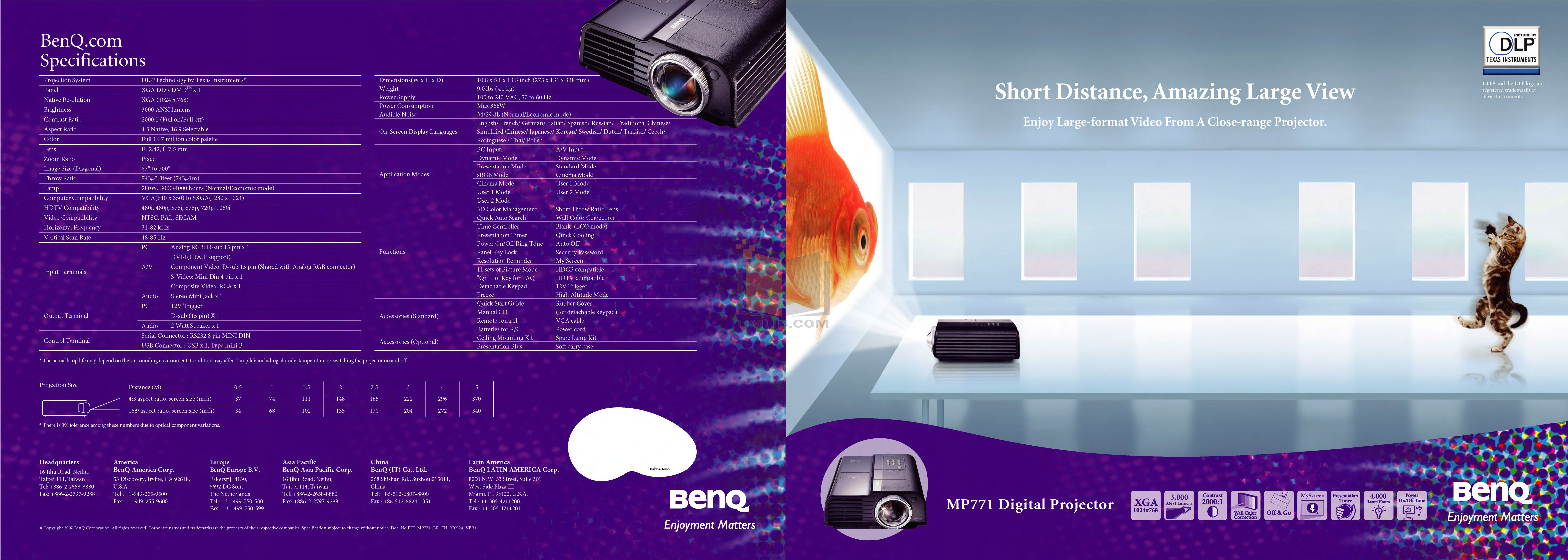 pdf for Benq Projector MP771 manual