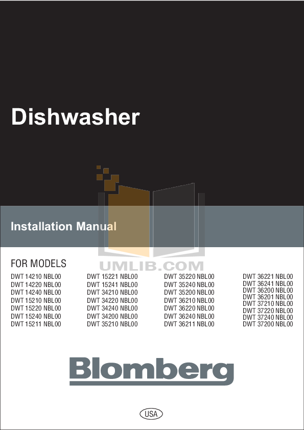 pdf for Blomberg Dishwasher DWT34240 manual