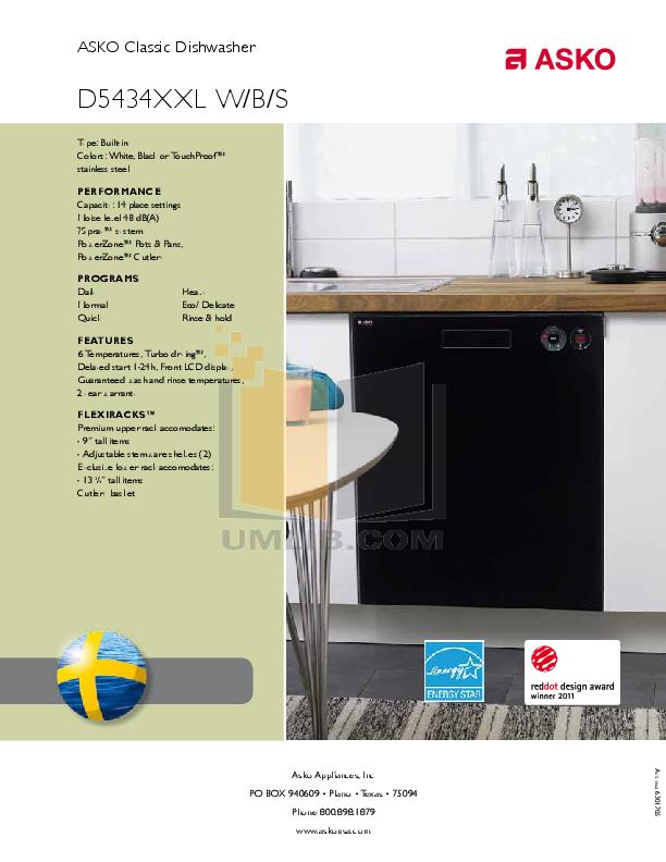 asko 1605 dishwasher service manual