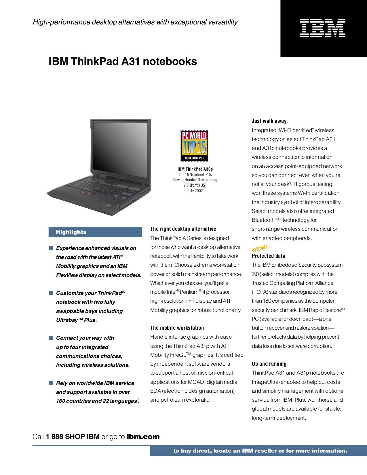 pdf for IBM Laptop ThinkPad A31p manual