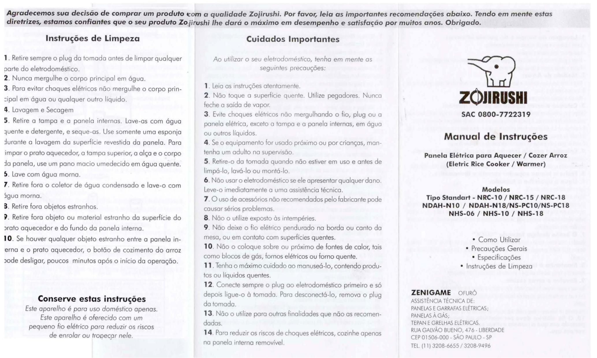 pdf for Zojirushi Other NRC-10 Warmers manual