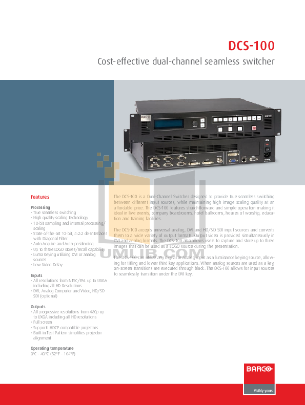 Barco Switch DCS-100 pdf page preview
