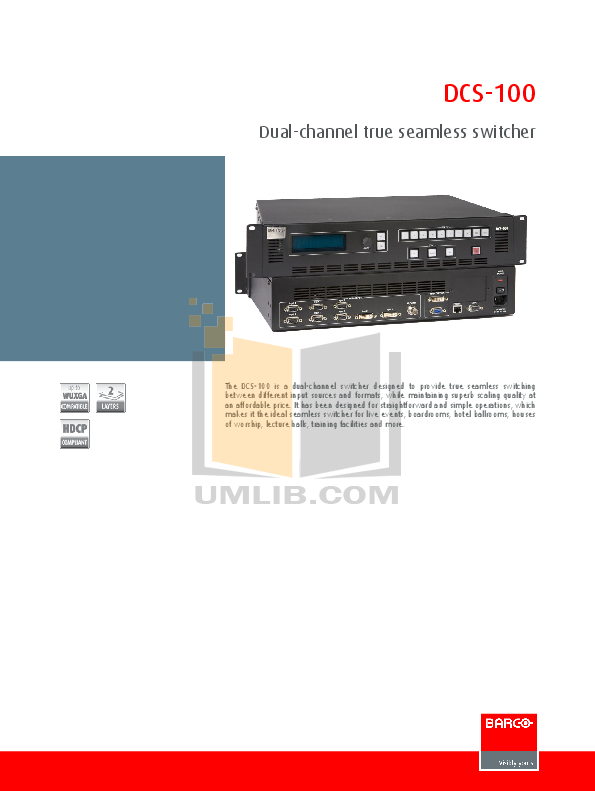 pdf for Barco Switch DCS-100 manual