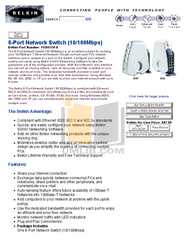 pdf for Belkin Switch F5D5130-8 manual