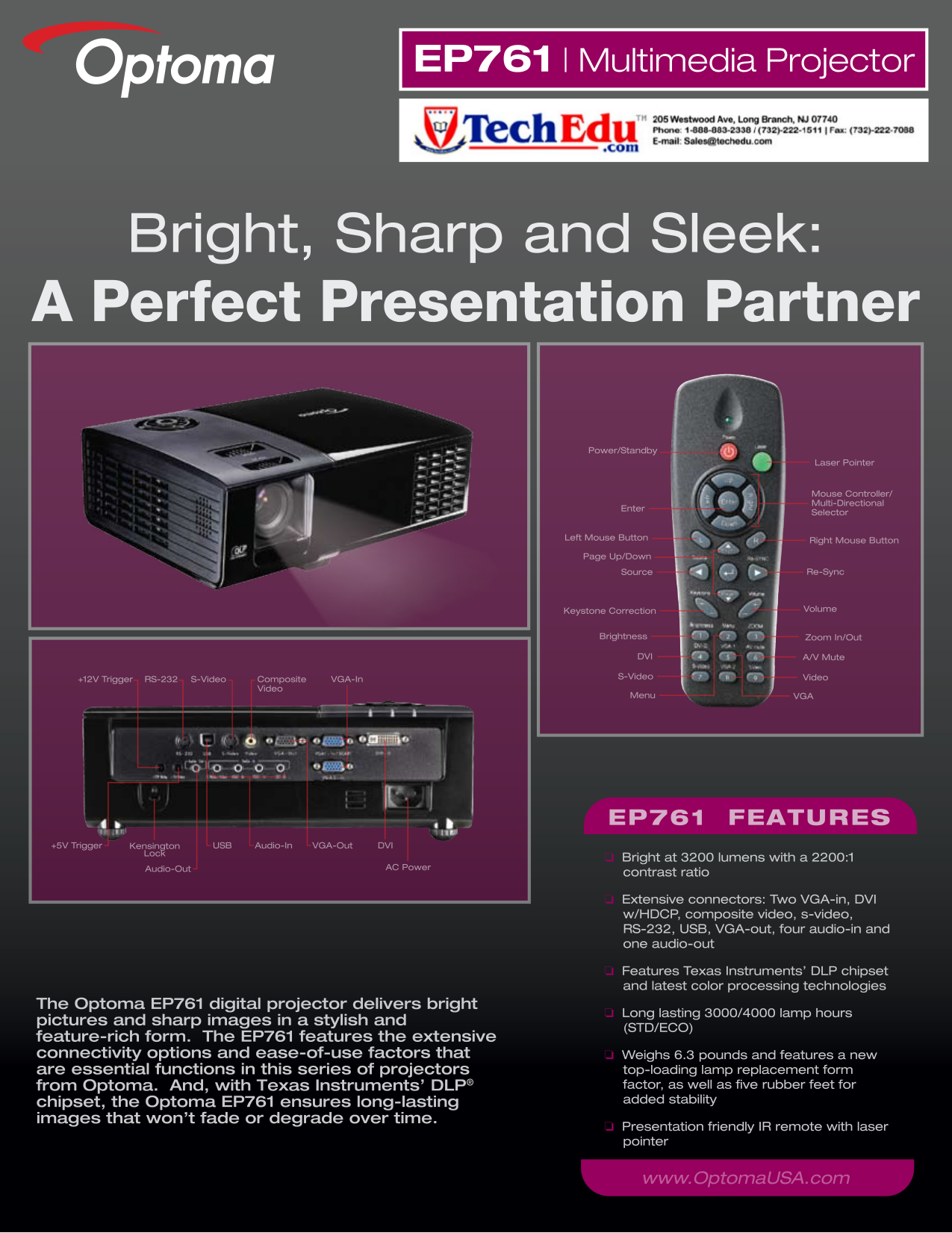 pdf for Optoma Projector EP761 manual
