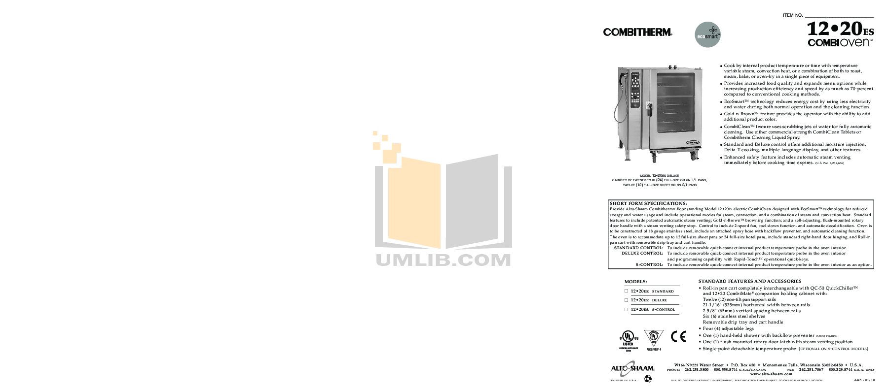 pdf for AltoShaam Other QC-50 Coolers manual